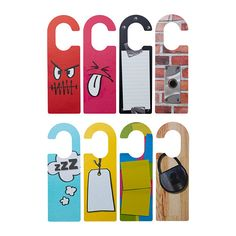 IKEA - RETSAM, Door handle plate, , Four colorful door tags printed on both sides for a total of 8 different patterns.Hang them outside your door or from the knob of a cabinet to communicate different messages or moods.You can write on the door tags to make them personal.