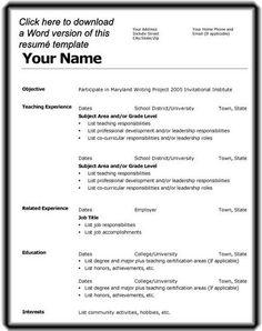 model of resume for job