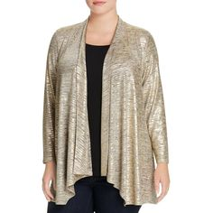 Calvin Klein Plus Metallic Flyaway Cardigan ($41) ❤ liked on Polyvore featuring tops, cardigans, gold, calvin klein, metallic top, cardigan top, metallic cardigan and brown top