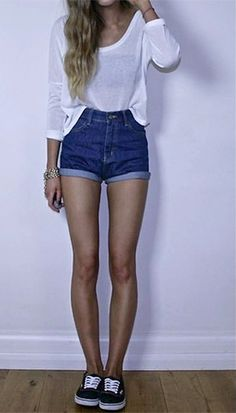 Simple: white T-shirt, denim high wasted shorts and vans