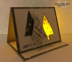 Stampin' Up! Festival of Trees. Fun fold with tea light window. http://stampsnlingers.com/2015/11/02/stampin-up-fun-fold-festival-of-trees-and-a-surprise-inside/