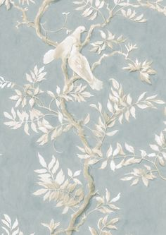 The traditionally beautiful Doves has been created by Flora Roberts, a decorative muralist whose painting has a lyrical peaceful quality. Dining Room Wallpaper, Interior Wallpaper, Chinoiserie Wallpaper, Home Wallpaper, French Wallpaper, Antique Wallpaper, Shabby, Mandala, Wallpaper Samples