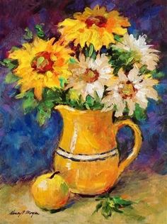"""Daily Paintworks - """"Saturday Sunflowers"""" - Original Fine Art for Sale - © Nancy F. Diy Canvas Art, Acrylic Painting Canvas, Watercolor Paintings, Original Paintings, Watercolor Cards, Sunflower Art, Flower Artwork, Impressionist Paintings, Flower Pictures"""