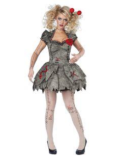 Déguisement poupée vaudou femme Halloween : Ce déguisement de poupée vaudou pour femme se compose d'une robe et de collants assortis (chaussures non incluses). Les deux sont gris avec des imprimés de couture noire et...