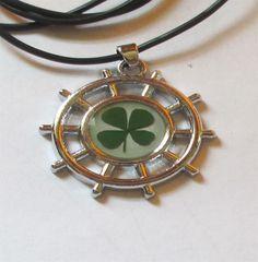 Necklace Shamrock Four Leaf Clover Ship Wheel Pendant Charm  Lucky Irish #Unbranded #Pendant