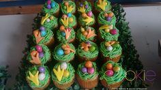 mini cupcakes decorados - tema ninho de dinossauro