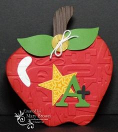 "This is for the SUO challenge ""Back to School"".  I didn't have any 'back to school' type sets so I took an apple digital stamp, blew it up to be card sized, printed off and then made that into my apple shaped card for the Back to School Challenge!"