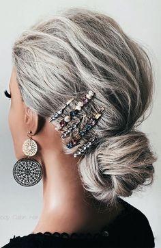Long Gray Hair, Silver Grey Hair, Grey Hair Over 50, Cute Hairstyles Updos, Grey Hair Updos, Long Hair Updos, Grey Hair Braids, Medium Hair Styles, Short Hair Styles
