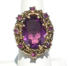Purple Rhinestone Statement Ring with Ornate Gold by RibbonsEdge #GotVintage #Vintage #Jewelry