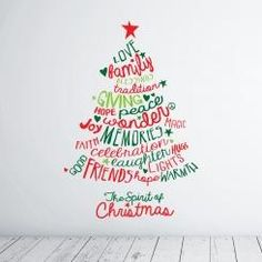 The Spirit of Christmas Tree Wall Sticker Adesivo da Muro