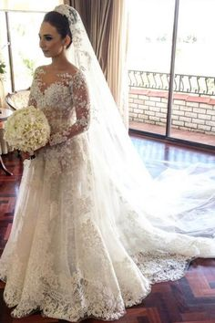 Stunning Tulle Bateau Neckline 2 In 1 Wedding Dresses With Beaded Lace Appliques & 3D Flowers Wedding Gown A Line, Wedding Dress Train, Wedding Dresses 2018, Affordable Wedding Dresses, Applique Wedding Dress, Long Sleeve Wedding, Princess Wedding Dresses, Cheap Wedding Dress, Bridal Dresses
