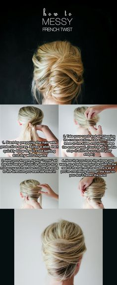 Step by step, messy French twist.