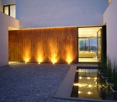 Architecture, Awesome Casa BR Architecture Design In Buenos Aires Argentina Designed By KLM Arquitectos Featuring Exterior Idea With Cool Wall Lighting And Pool: Amazing Minimalist home with Courtyard in Buenos Aires Argentina Facade Lighting, Exterior Lighting, Outdoor Lighting, Lighting Design, Wall Lighting, Architecture Design, Landscape Architecture, Landscape Design, Design Café