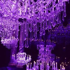 Love this gorgeous purple chandelier backdrop featured at Elie Saab's haute couture show in Paris