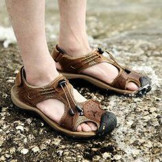 Large Size Men Stitching Genuine Leather Anti-collision Toe Lace Up Outdoor Beach Sandals is comfortable to wear, cheap men sandals are on sale-NewChic Mobile. Best Hiking Shoes, Hiking Sandals, Hiking Boots, Beach Shoes, Beach Sandals, Men Sandals, Leather Sandals, Cowboy Boots Women, Western Boots