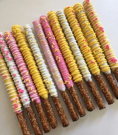 Chocolate Dipped Pretzel Rods, Chocolate Covered Treats, Pretzel Dip, Yellow Candy, Pink Yellow, Pink Minion, Yellow Desserts, Pink Sweets, Pink Lemonade Party