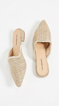 matt bernson woven metallic point toe mules