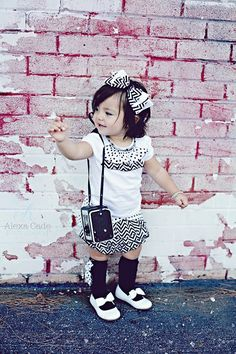 Black and White Chevron Print Ruffled Skirt with a Black and White Polka Dot Wrap Around Outer Panel