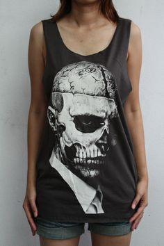 Street/Urban Fashion Zombie Boy Rick Genest Punk Rock Men Vest Tank Tops Tee - Tanks & Camis