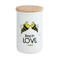 Bee in love container: This ceramic storage container is a cook's must-have for the kitchen. With an eco-friendly bamboo lid, this large container helps keep flour, cookies - you name it - fresh and within reach. #container #love #kitchen #home #ecofriendly #ceramic #bamboo