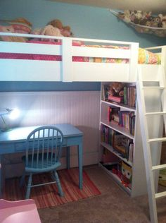 white bunk beds for girls | Sweet Girl's Loft Bed | Do It Yourself Home Projects from Ana White