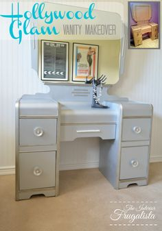 Vintage Vanity Makeover with Modern Masters Metallic Paint