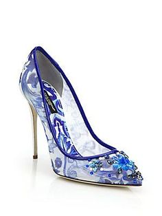 Dolce & Gabbana Jeweled Mesh Tile-Print Pumps