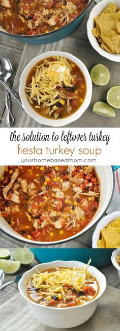 Fiesta Turkey Soup ~ perfect for leftover turkey from Thanksgiving and Christmas dinner!