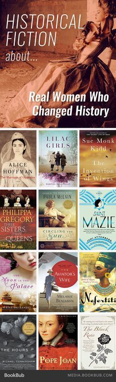 Novels About Real Women Who Changed History Historical fiction books about women who changed history.Historical fiction books about women who changed history. Books And Tea, I Love Books, Good Books, Books To Read, My Books, Teen Books, Book Suggestions, Book Recommendations, Reading Lists