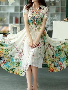 Ericdress Bohemian Vintage Print Maxi Dress Maxi Dresses