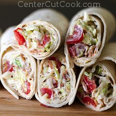 These BLT Wraps feature crisp bacon, juicy grape tomatoes, shredded lettuce, and a special sauce that make these standout!