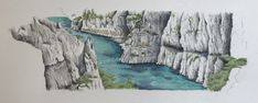 Calanques, France. www.seabeangallery.com Watercolor Landscape Paintings, Sketches, Scene, France, Building, Outdoor, Drawings, Outdoors, Buildings