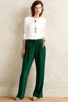 Elevenses Emerald Silk Wide-Legs  #anthrofave #anthropologie