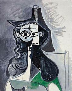 Pablo Picasso - Portrait de femme assise à la robe verte, February 11, 1961.