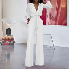 Good Price of Women Sexy Deep V-Neck Jumpsuits Wide Leg Pants Elegant Bandage Romper Puff Sleeve Casual Party Overalls Sashes Female White C. Work Fashion, Fashion Outfits, Womens Fashion, Before Wedding, Easter Dress, Lookbook, Casual Party, Work Attire, Jumpsuits For Women