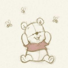 Baby pooh with bees drawing sketches, cute drawings, drawing ideas, disney drawings sketches Disney Drawings Sketches, Easy Disney Drawings, Cute Cartoon Drawings, Cute Easy Drawings, Girly Drawings, Cool Art Drawings, Animal Drawings, Drawing Sketches, Baby Drawing Easy