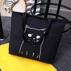 Women's Cartoon Cats Printed Tote Canvas Shoulder Handbag