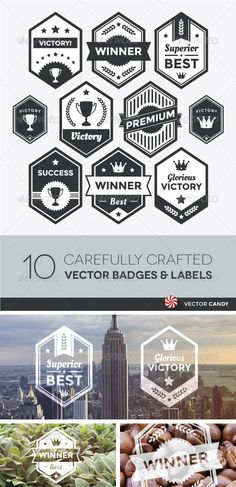 "Premium Vector Badge and Modern Label Collection #GraphicRiver Premium Vector Badge and Modern Label Collection Collection of premium vector badges and packaging labels. Wide range of graphic styles (including modern, retro, clean, and classic). Utilitarian enough to be adaptable to other design styles. This set of isolated design elements includes typography for ""Success"", ""Winner"", ""Best"", ""Victory"", and ""Superior"". Features: Hassle-free vector elements neatly arranged in separate layers…"