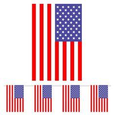 USA Plastik Flag Guirlande til Væg- og loftpynt