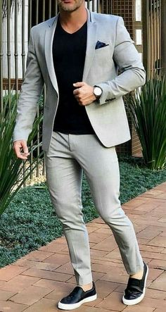 Sneakers men fashion - Grey Smart Casual Street Men Suit for Wedding Suit Men Blazer Coat Jacket Party Prom Slim Fit Tuxedo Suit with Pants Custom Made Blazer Outfits Men, Mens Fashion Blazer, Suit Fashion, Men Blazer, Fashion Shirts, Casual Outfits, Trendy Mens Fashion, Fashionable Outfits, Dress Casual