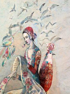Katarína Vavrová/ Sky river/ painting on japan paper