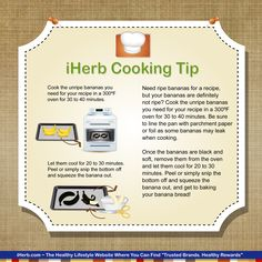 iHerb Cooking Tip: Here's an easy tip to ripen bananas when needed for a recipe!
