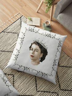 'Polygonal Portrait of a Queen' Floor Pillow by houseofenigma Floor Pillows, Throw Pillows, Queen, Bedding, Flooring, Blanket, Portrait, Frame, Home Decor
