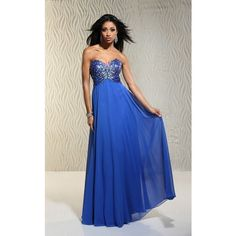 Xcite 30527 Prom Long Dress Long Strapless Sleeveless ($298) ❤ liked on Polyvore featuring dresses, gowns, blush, formal dresses, blue sleeveless dress, sleeveless dress, long blue dress, prom dresses and long prom dresses