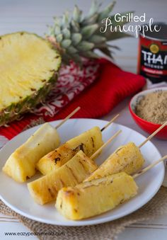 Grilled pineapple skewers marinated in coconut milk and brown sugar. The perfect side to your BBQ this summer! Grilled Pineapple #startsummer #ad - Eazy Peazy Mealz