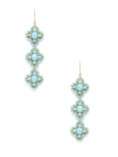 Miguel Ases Turquoise Triple Flower Drop Earrings