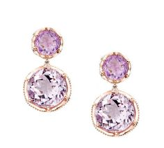 Amazing Amethyst!  Dual round gem stones in bold lilac Amethyst and crystalline Rose Amethyst sit atop one another for fresh, femininely styled signature earrings. Color of the year : #radiantorchid