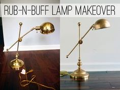 Make over a shiny brass lamp to look like expensive bronze with rub-n-buff, at View Along the Way