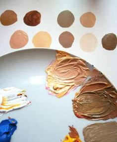 Use primary colors to paint skin tones