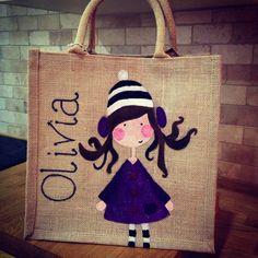Hand painted personalised jute bag, girly design.